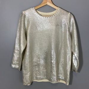Charming Charlie Metallic Sheen Crew Knit Sweater